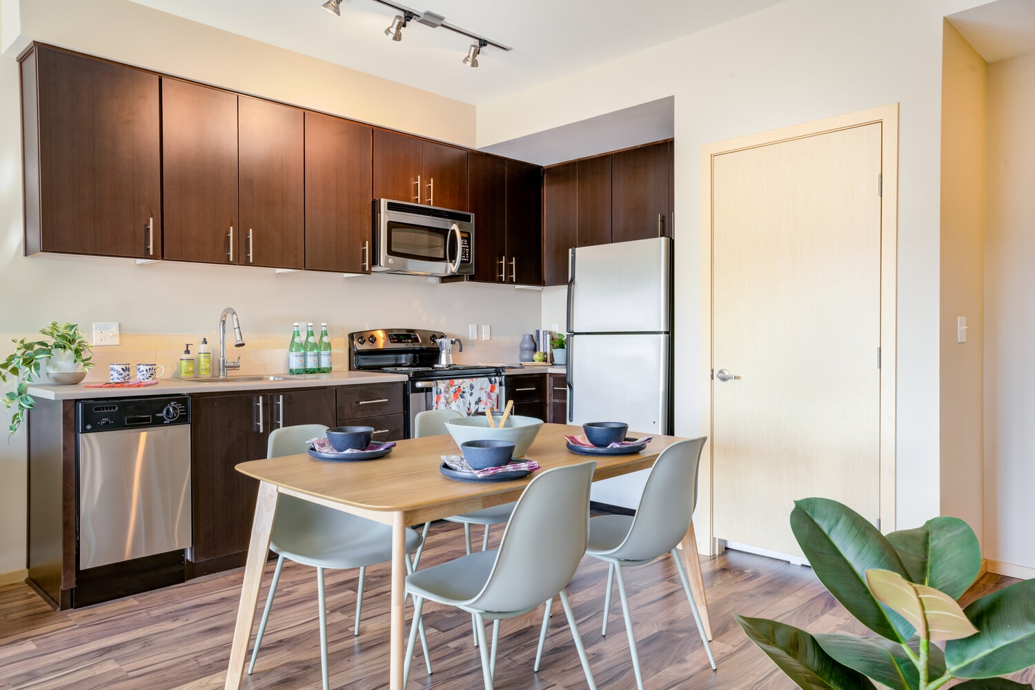 interior of apartment kitchen with table