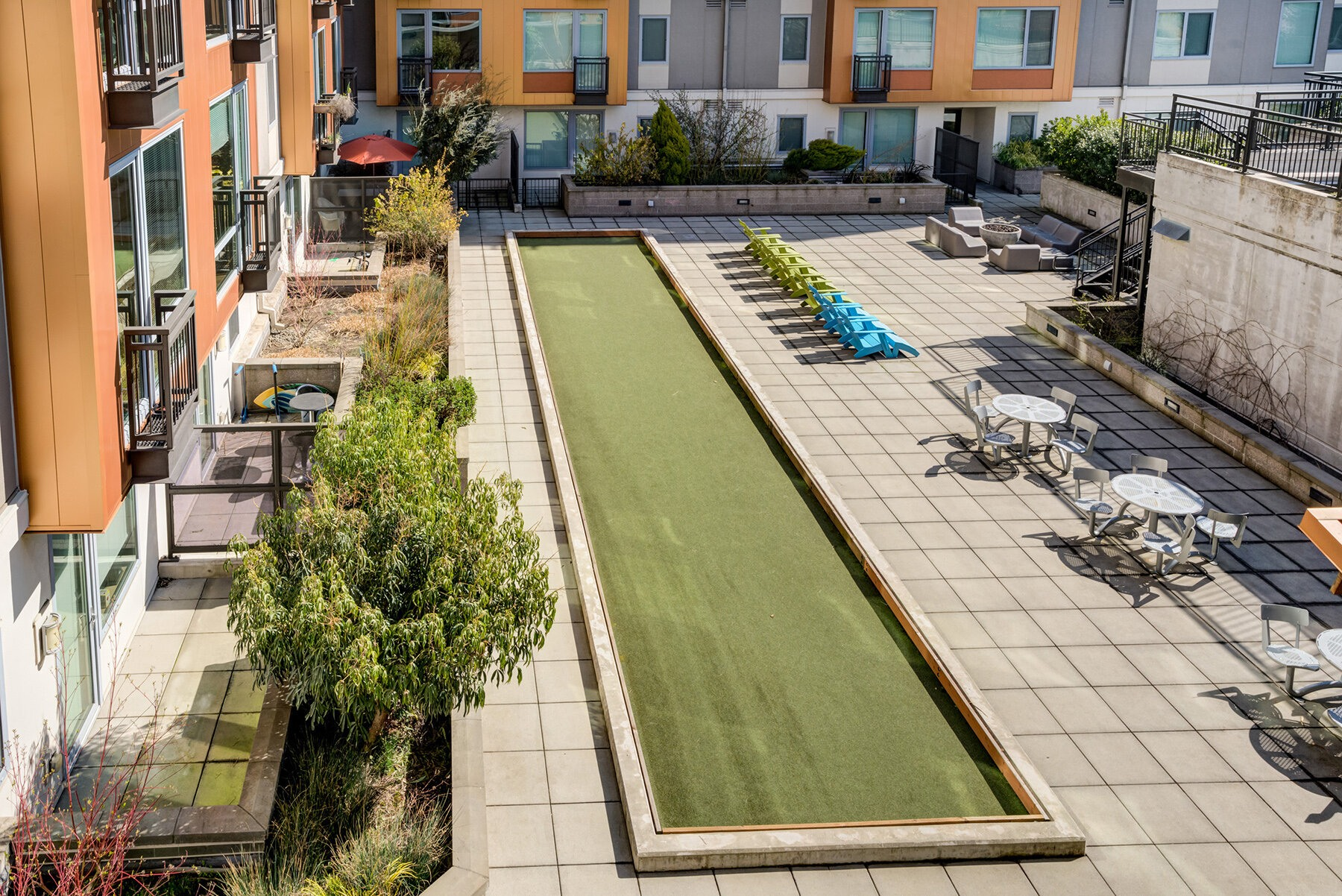 Ariel view of bocce ball court