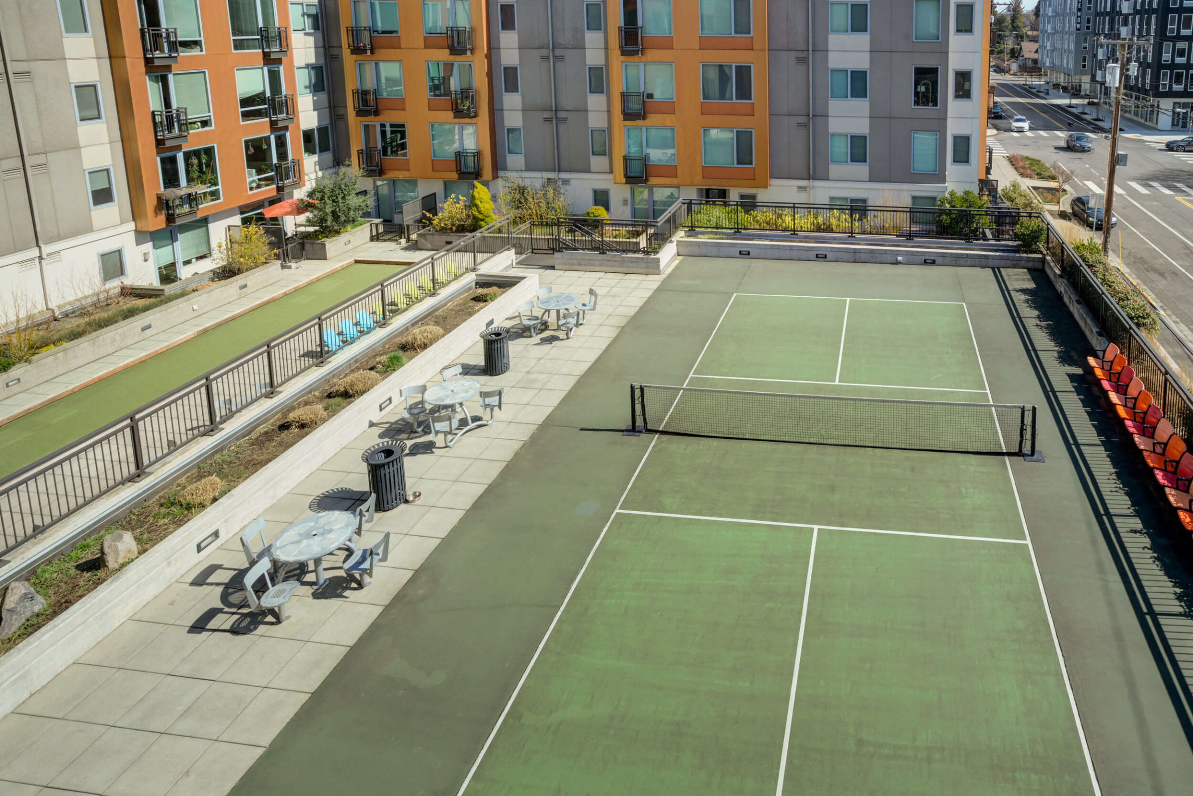 Aerial view of pickle ball court and outdoor courtyard