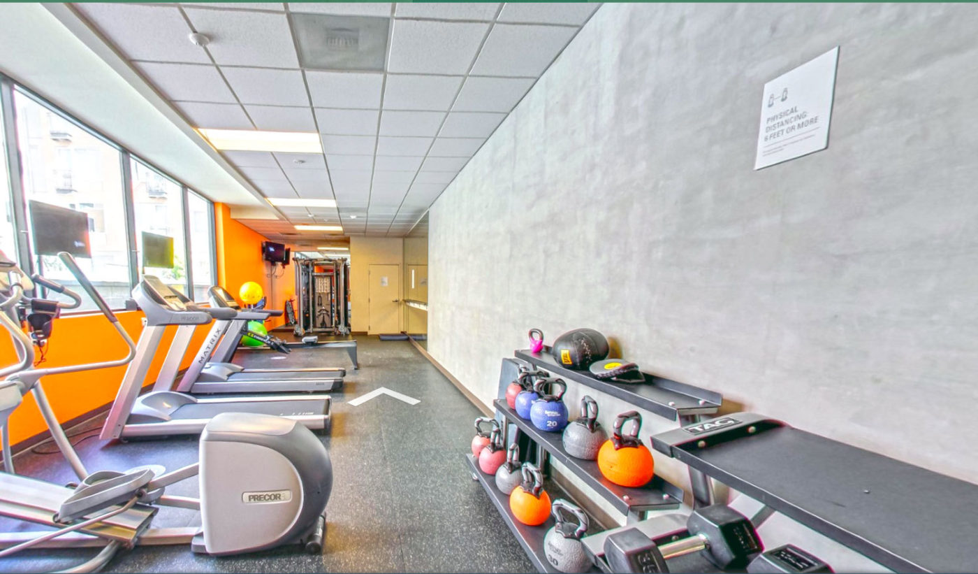 Prescott apartments fitness center with weights and treadmills